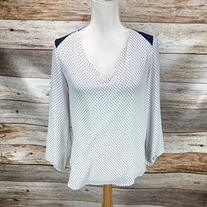 Zara Basic Blouse White Navy Blue Polka Dot V Neck